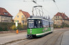 A former Stuttgart car drafted in to help 'modernise' a former DDR system. Halberstadt car 152 at Herbingstrasse was built in the late 1960s. 12th April 1993. (First published in Light Rail & Modern Tramway, 9/93).