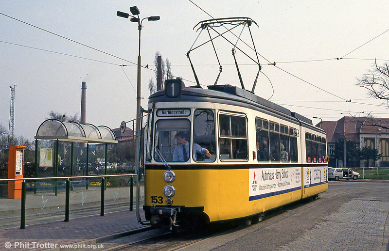 Ex-Stuttgart Halberstadt 153, still in its previous operator's livery at Hauptbahnhof on 12th April 1993.