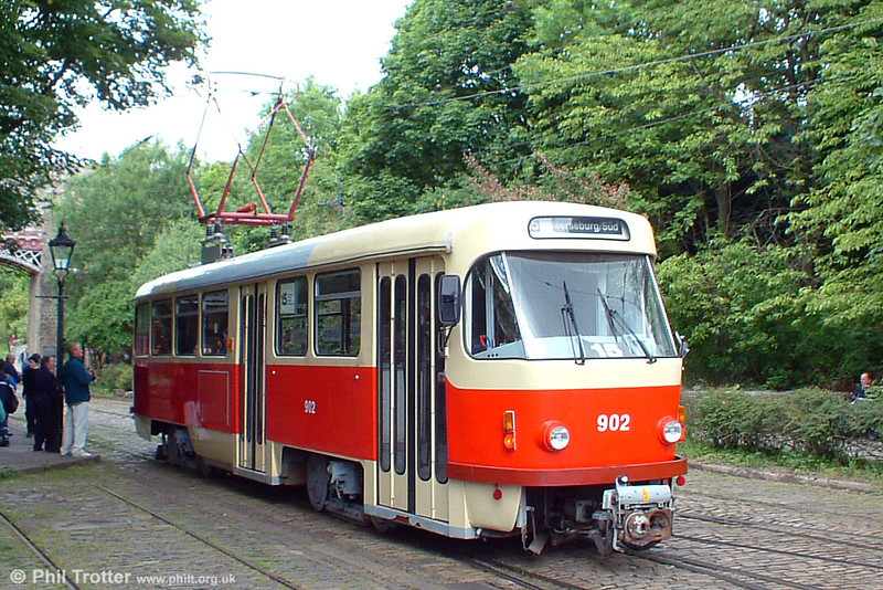 Acquired from Halle (Germany), 1969-built Tatra ZT4D 902 of 1969 at the National Tramway Museum, UK on 12th June 2005. The car will be converted for use by mobility impaired visitors to the museum.