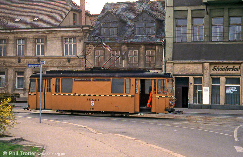 Halle works car 021, a Gotha car dating from 1956 and originally car 514 at Steintor on 13th April 1993.