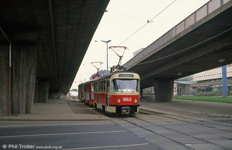 Tatra T4D 963 at Thalmannplatz on 13th April 1993.