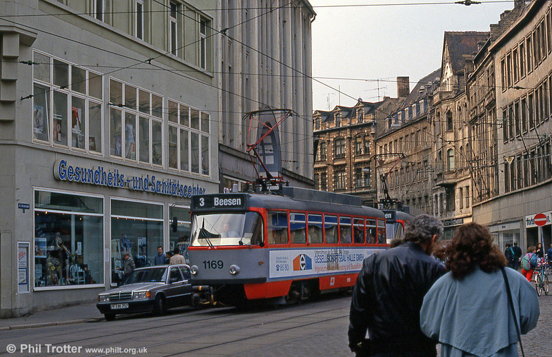 Tatra T4D 1169 at Grosse Ulrich Strasse on 13th April 1993.