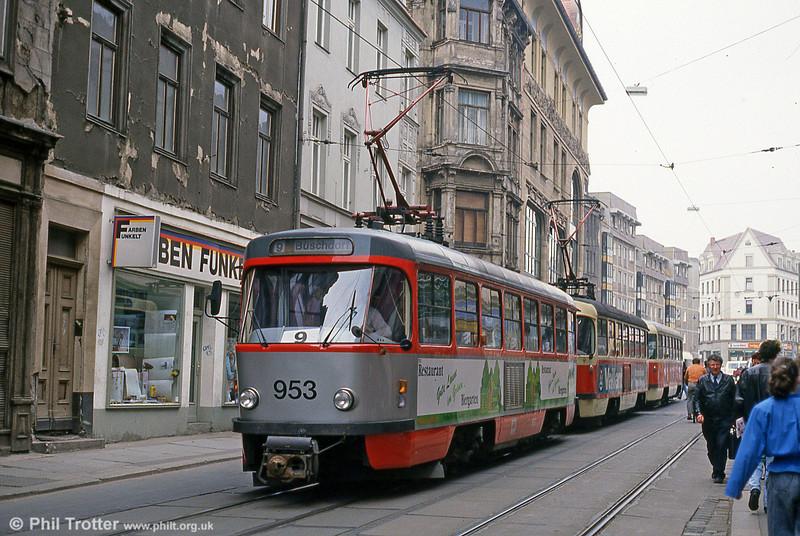 Tatra T4D 953 near Marktplatz on 13th April 1993.