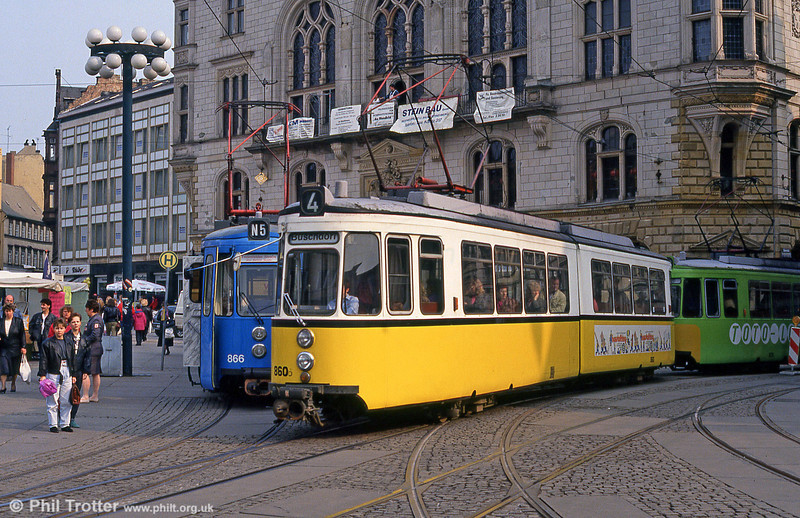 Halle ex-Stuttgart car 860 at Marktplatz on 13th April 1993.