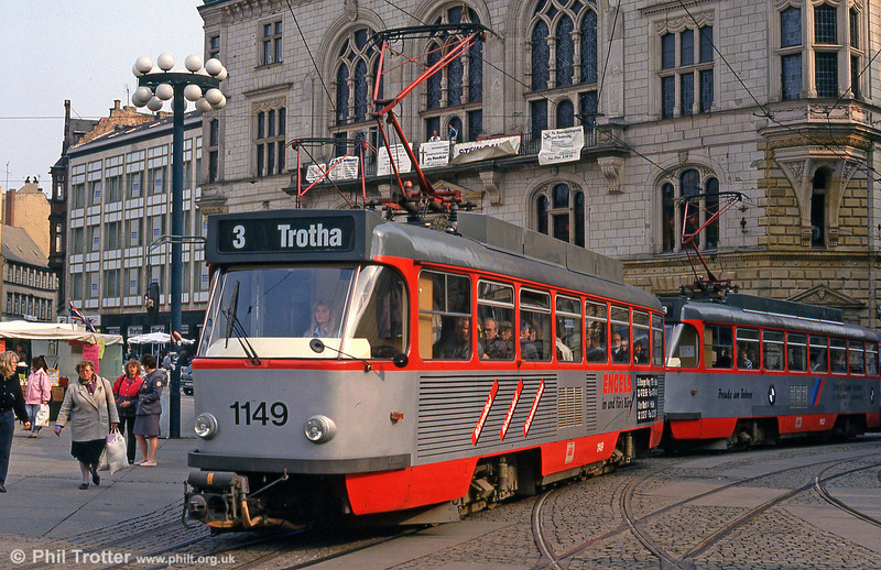 Tatra T4D 1149 at Marktplatz on 13th April 1993.