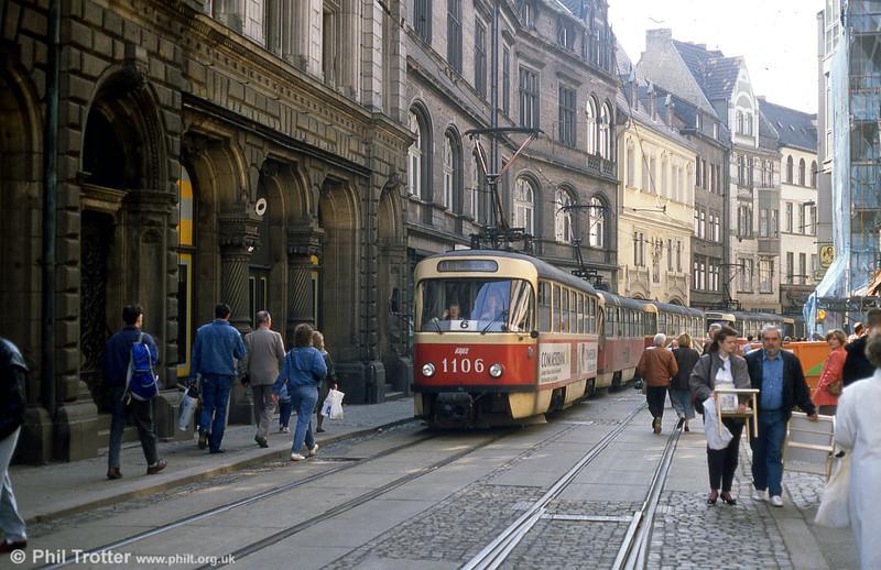 Tatra T4D 1106 at Schmeer Strasse on 13th April 1993.
