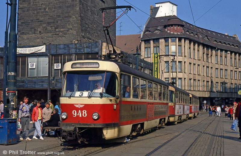 Tatra T4D 948 at Marktplatz on 6th April 1991.