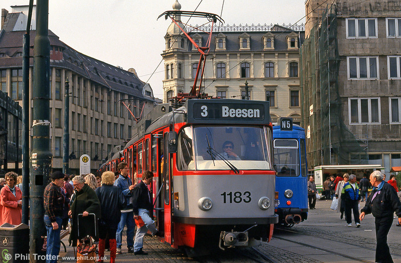 Tatra T4D 1183 at Marktplatz on 13th April 1993.