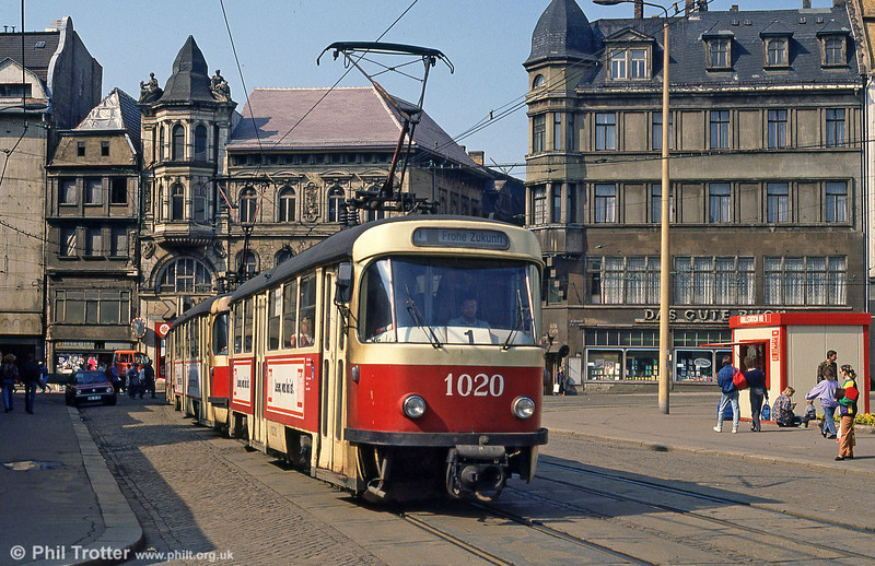 Halle Tatra T4D 1020 at Grosse Steinstrasse on 6th April 1991. Since reunification, the city has become a much more pleasant environment with many years of neglect swept away.