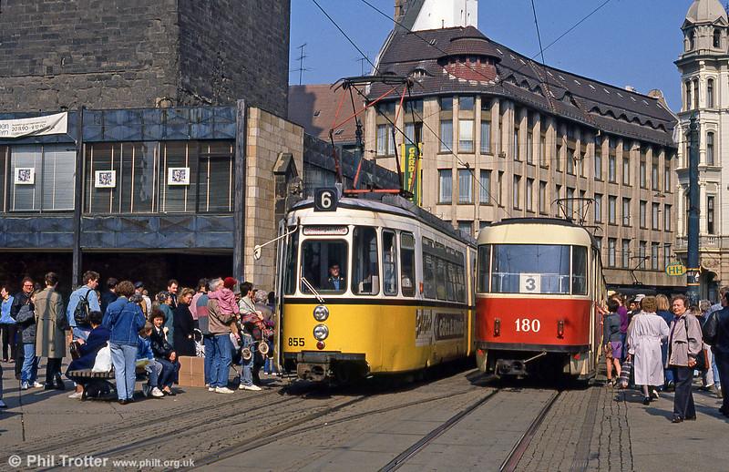 Halle ex-Stuttgart car 855 at Marktplatz on 6th April 1991.