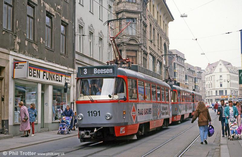 Tatra T4D 1203 near Marktplatz on 13th April 1993.