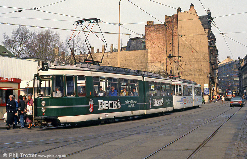 Halle ex-Stuttgart car 855 at Grosse Steinstrasse on 13th April 1993.