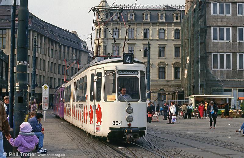 Halle ex-Stuttgart car 854 at Marktplatz on 13th April 1993.