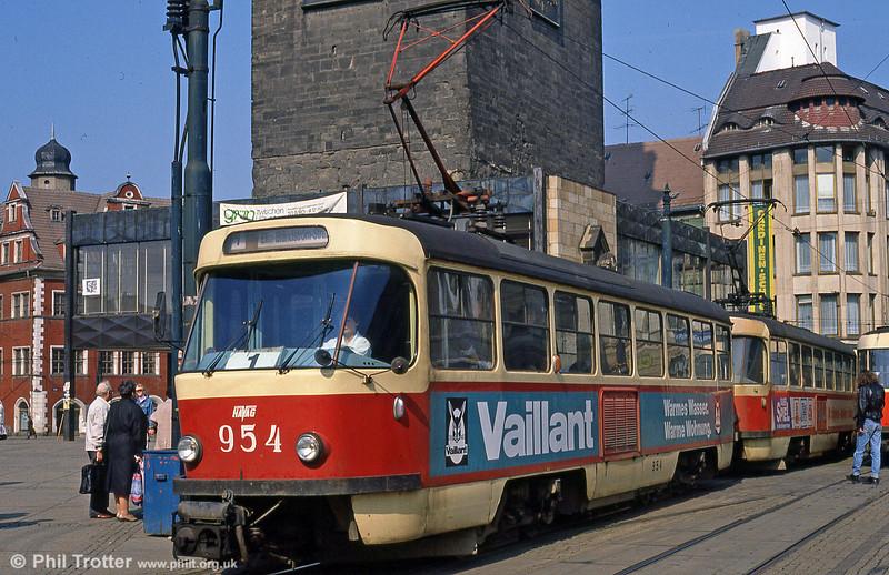 Tatra T4D 954 at Marktplatz on 6th April 1991.