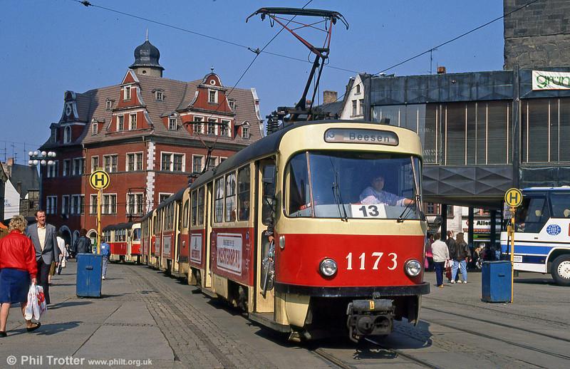 Tatra T4D 1173 at Marktplatz on 6th April 1991.