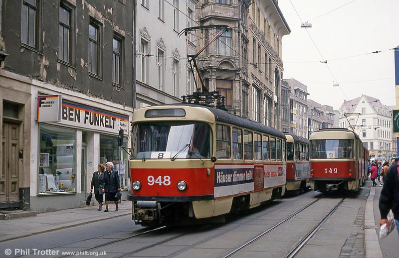 Tatra T4D 948 near Marktplatz on 13th April 1993.