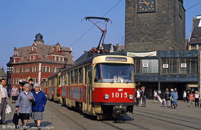 Tatra T4D 1015 at Marktplatz on 6th April 1991.