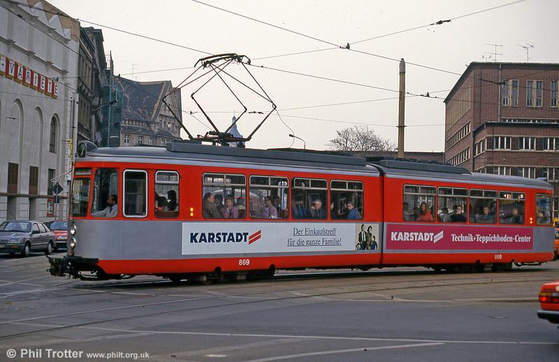 Halle ex-Stuttgart car 869 at Steintor on 13th April 1993.