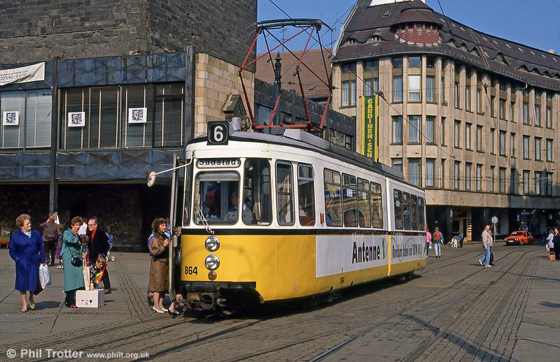 Halle ex-Stuttgart car 864 at Marktplatz on 6th April 1991. (First published in Modern Tramway, 9/91).