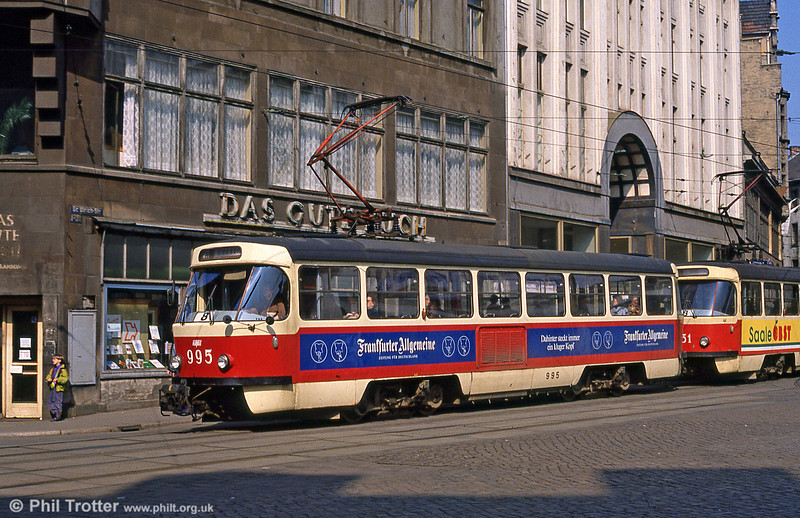 Tatra T4D 995 amidst neglected buildings at Grosse Ulrich Strasse on 6th April 1991.
