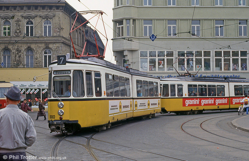 Halle ex-Stuttgart car 880 at Grosse Steinstrasse on 13th April 1993.