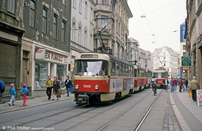 Tatra T4D 1040 near Marktplatz on 13th April 1993.