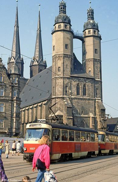 Tatra T4D 1007 at Marktplatz on 6th April 1991.
