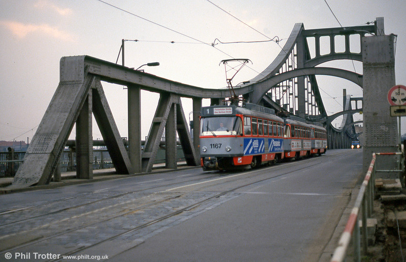 Tatra T4D 1167 crosses Berliner Brucke on 13th April 1993.
