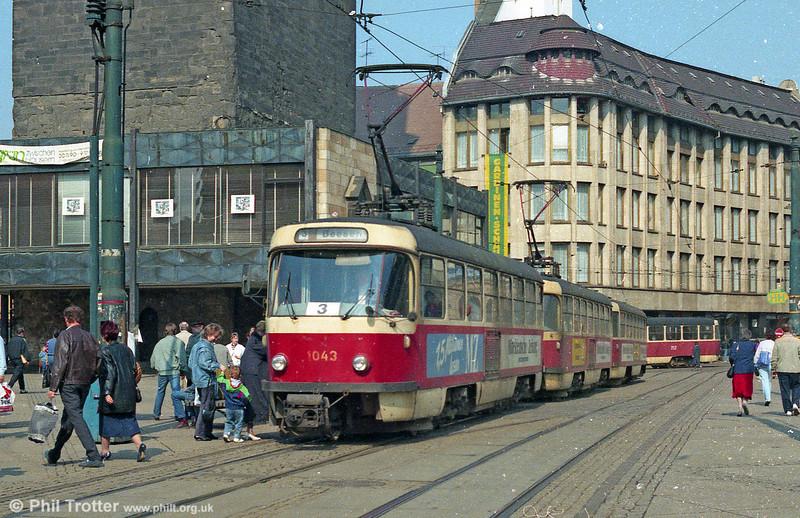 Tatra T4D 1043 at Marktplatz on 6th April 1991.