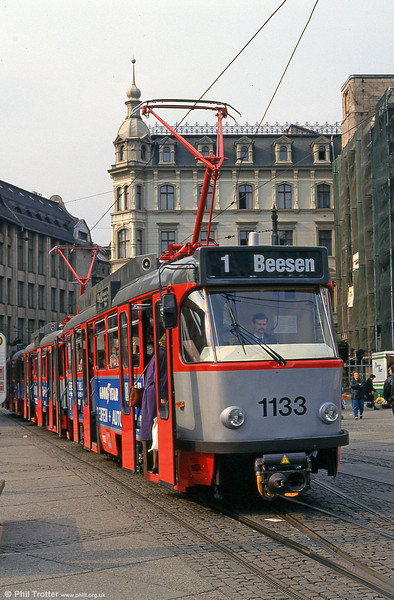 Tatra T4D 1133 at Marktplatz on 13th April 1993.