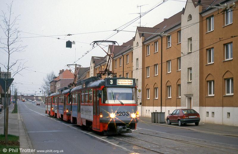 Tatra T4D 1203 at Freiimfelder Straße on 13th April 1993.