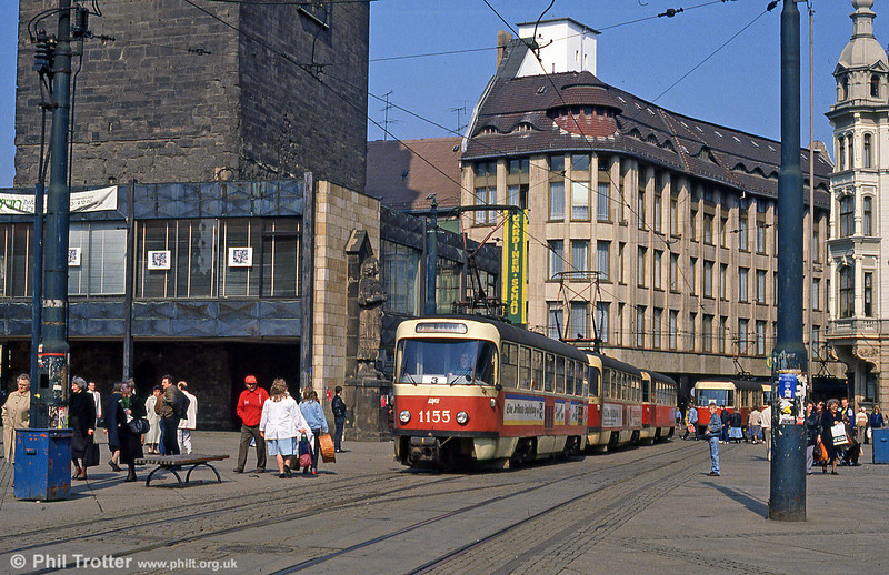 Tatra T4D 1155 at Marktplatz on 6th April 1991.