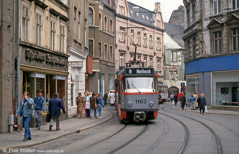 Tatra T4D 1163 near Marktplatz on 6th April 1991.