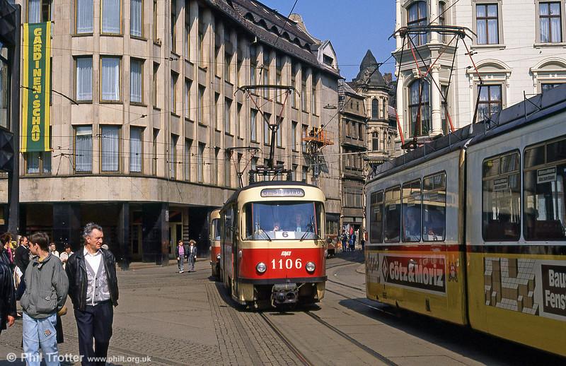 Tatra T4D 1106 at Marktplatz on 6th April 1991.