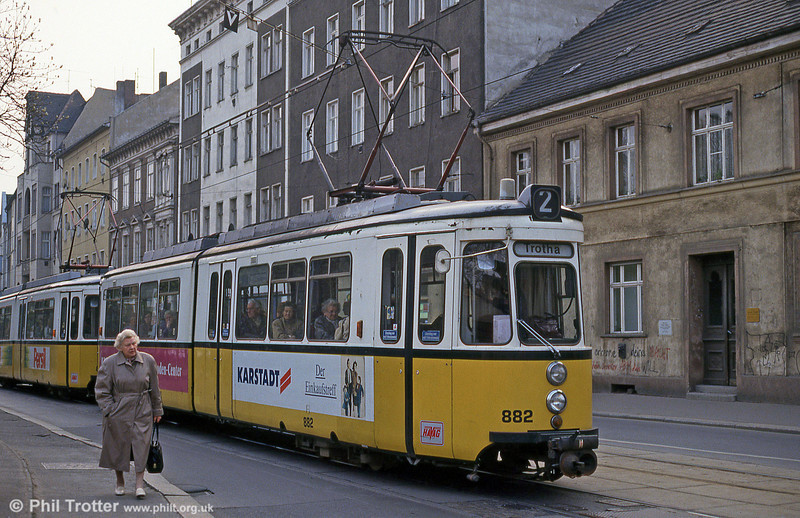 Halle ex-Stuttgart car 882 at Steintor on 13th April 1993.