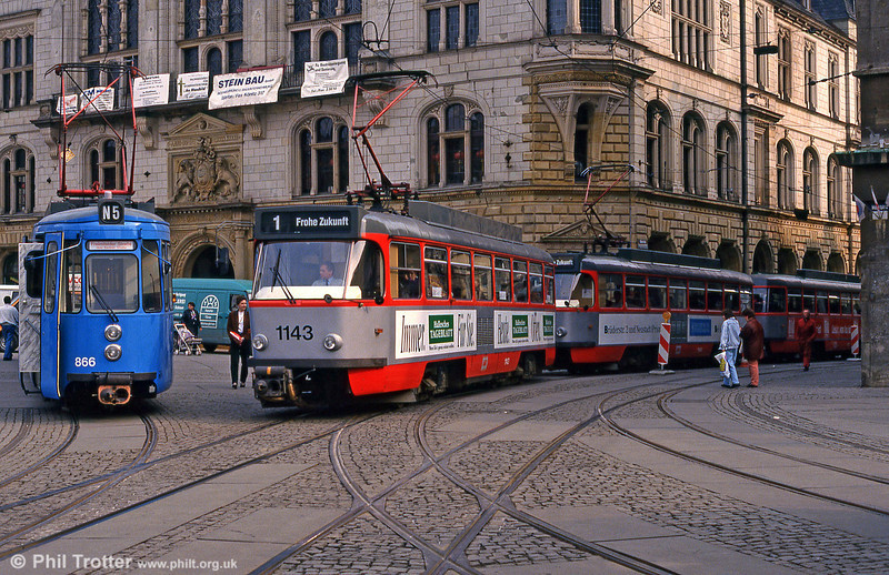 Halle ex-Stuttgart car 866 and T4D 1143 in front of the town hall at Marktplatz on 13th April 1993.