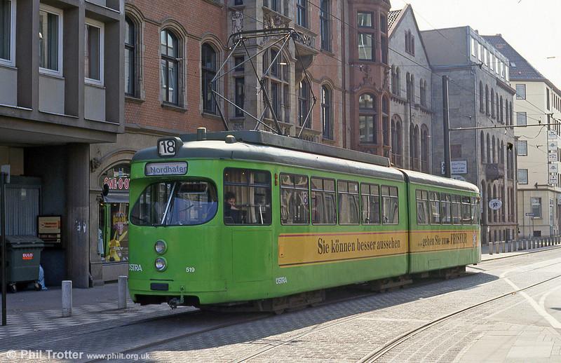 Hannover 519 near the Hauptbahnhof on 11th April 1993.