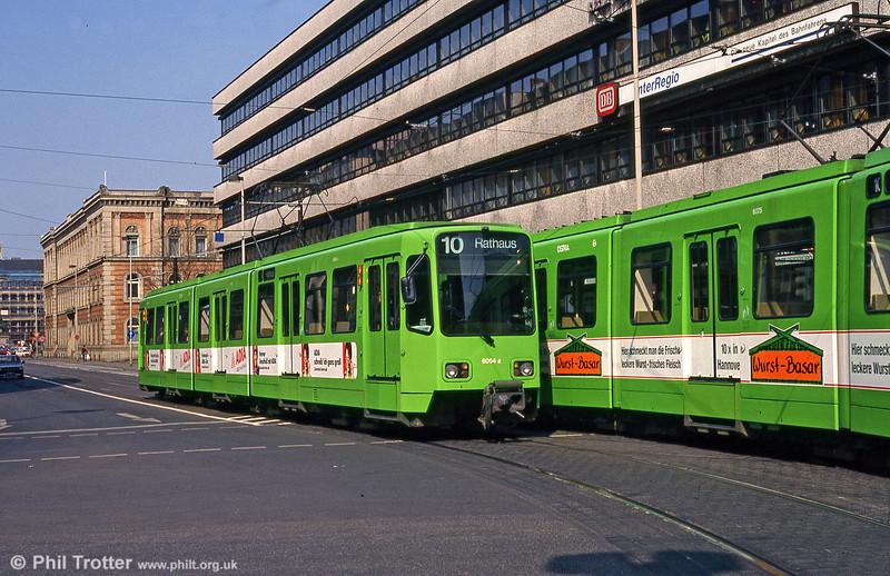 Hannover 6054 near the Hauptbahnhof on 11th April 1993.