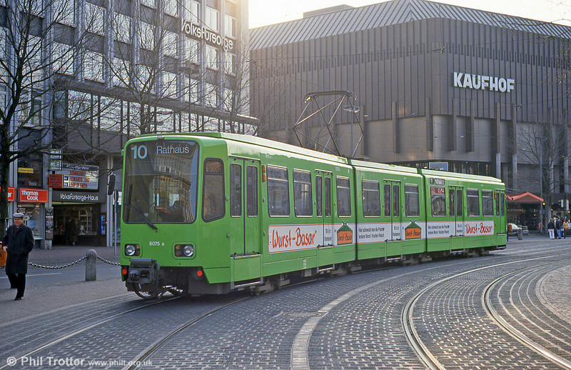 Hannover 6075 near the Hauptbahnhof on 10th April 1993.