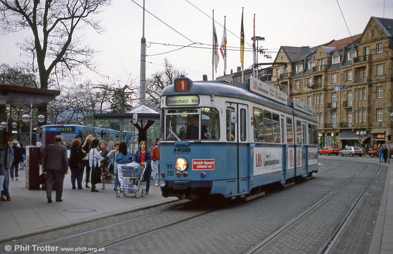 Heidelberg Duewag 232 at Bismarckplatz on 1st August 1993.