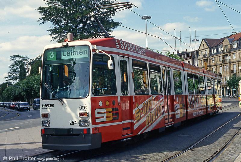 Heidelberg 254 at Bismarckplatz on 1st August 1993.