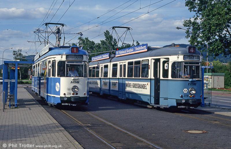 Heidelberg 226 and 228 at Blumenthalstrasse on 3rd April 1991.