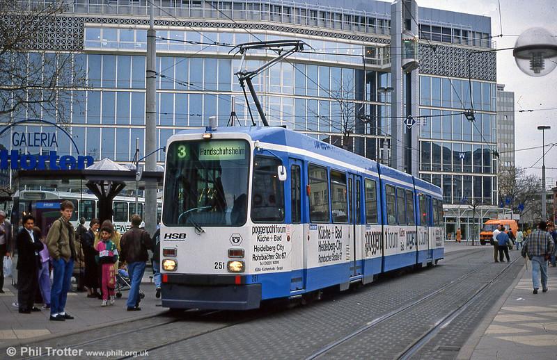 Heidelberg 251 at Bismarckplatz on 3rd April 1991. (First published in Light Rail & Modern Tramway, 8/93).