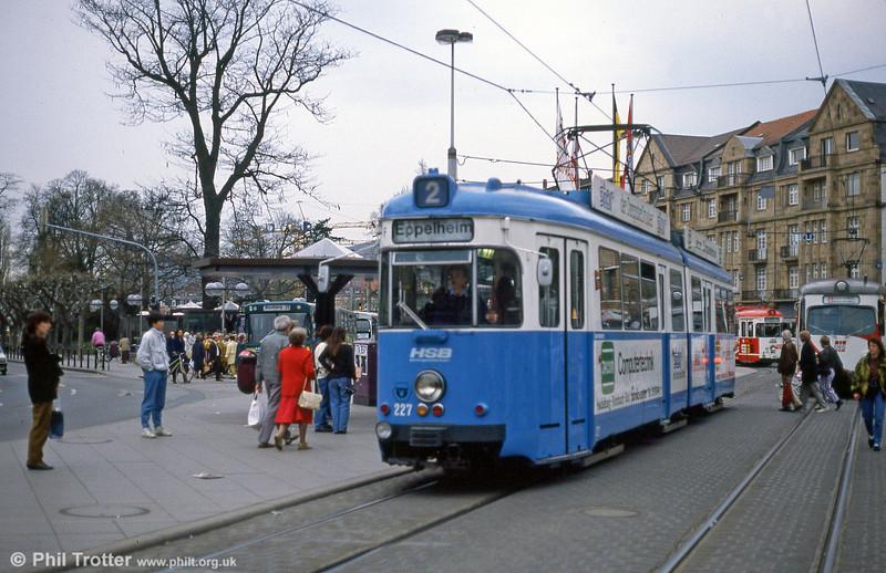 Heidelberg Duewag 227 at Bismarckplatz on 1st August 1993.