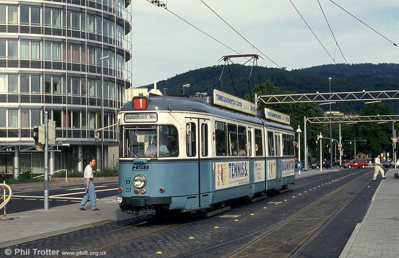 Heidelberg 217 near the Hbf. on 1st August 1993.