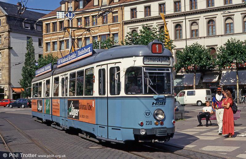 Heidelberg Duewag 230 at Bismarckplatz on 1st August 1993.