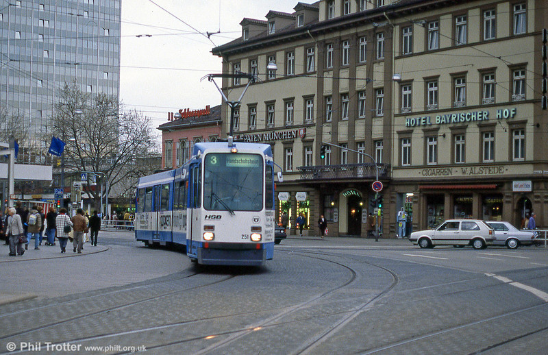 Heidelberg 251 at Bismarckplatz on 3rd April 1991.