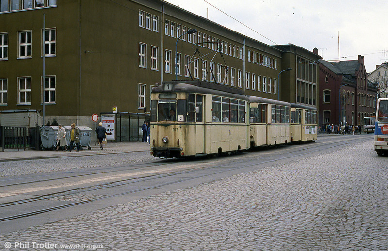 Looking less than pristine, Jena 073 is seen at Holzmarkt.