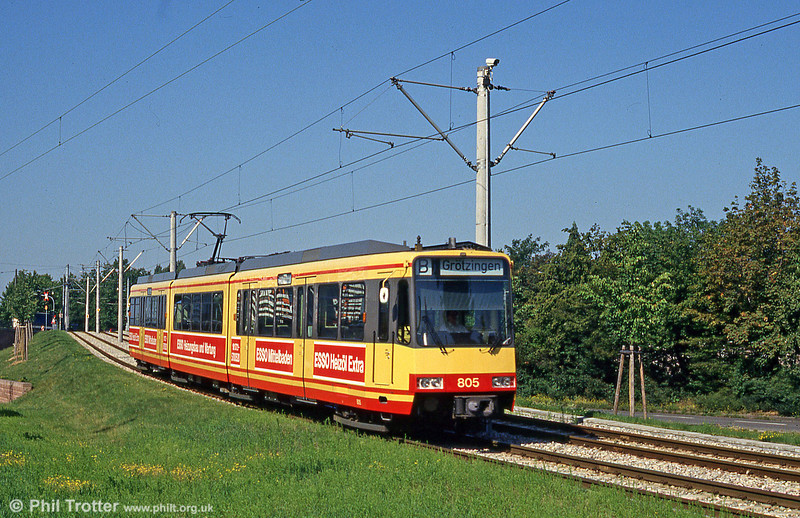 Car 805 leaves the KVV tracks to join the DB network.at Durlach on 2nd August 1993.