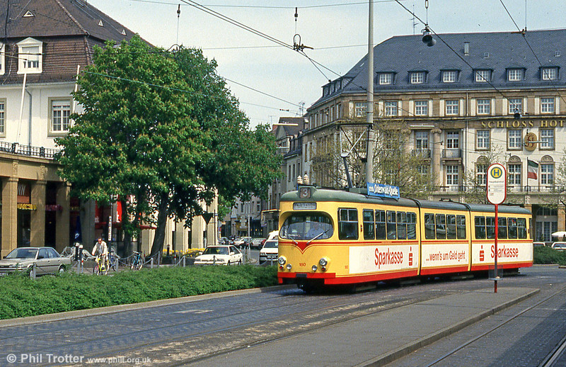 Car 180 at the Hauptbahnhof on 22nd April 1993.
